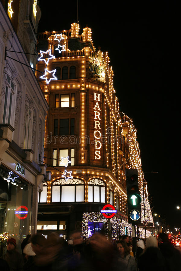 Free Christmas Lights On Brompton Road With Harrods Royalty Free Stock Photography - 28043377