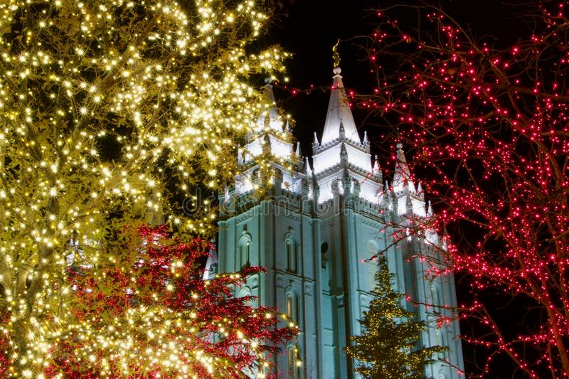 Christmas lights outside historic temple in Utah royalty free stock photography
