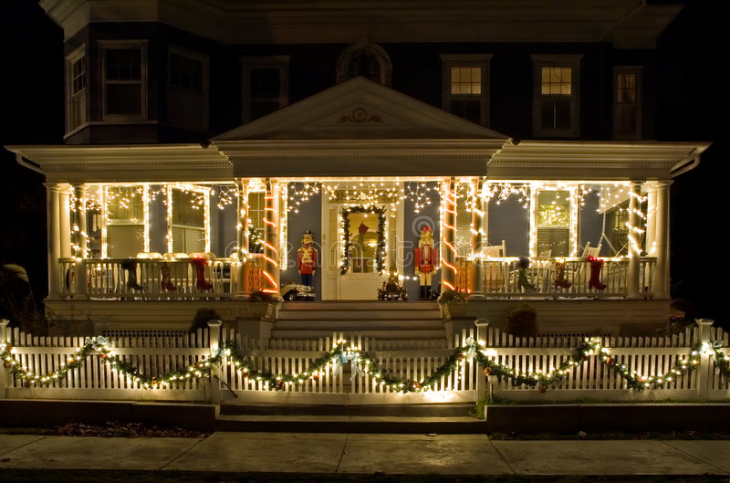 Download Christmas Lights On The Porch Stock Photo - Image: 1713902