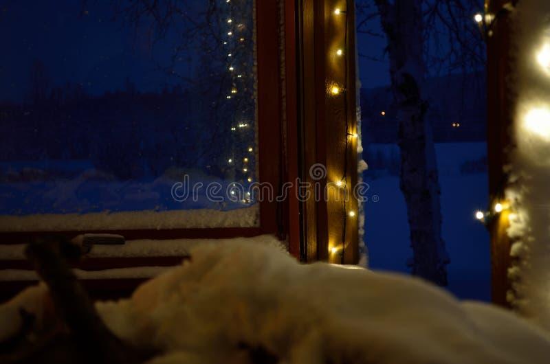 Christmas lights on porch stock photos
