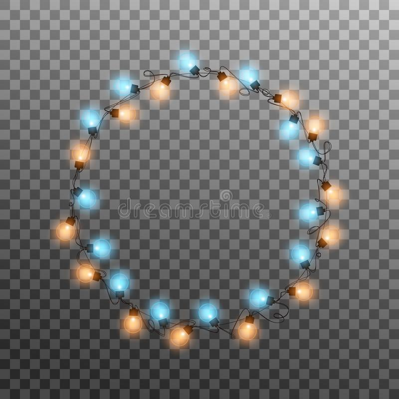 Christmas lights. Realistic multicolored string lights for New Year and Xmas season. Glowing isolated shiny lights with. Transparent effect stock illustration