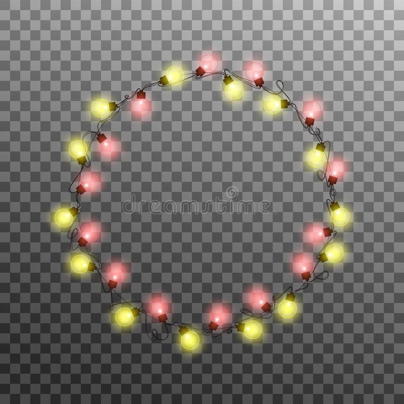 Christmas lights. Realistic multicolored string lights for New Year and Xmas season. Glowing isolated shiny lights with. Transparent effect royalty free illustration