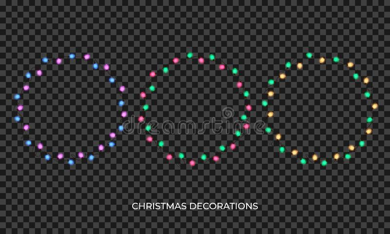 Christmas lights. Realistic multicolored wreath for New Year and Xmas season. Glowing isolated shiny lights with vector illustration