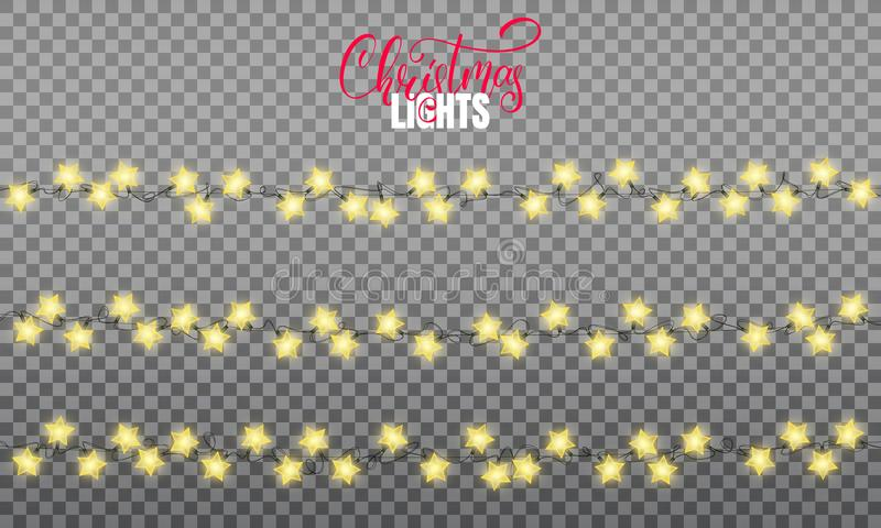 Christmas lights. Realistic string lights design elements of star shape lamps. Glowing lights for winter holidays. Shiny vector illustration