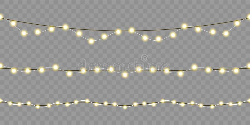 Christmas lights seamless design. Vector isolated Xmas, birthday or festival celebration lamp lights on transparent background vector illustration