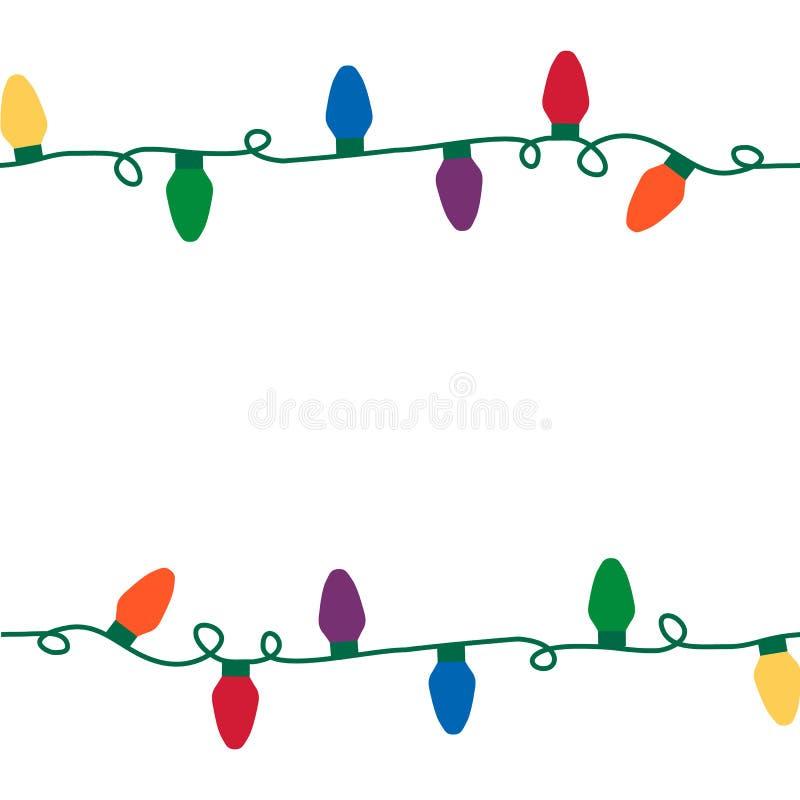 Christmas lights seamless string. royalty free illustration