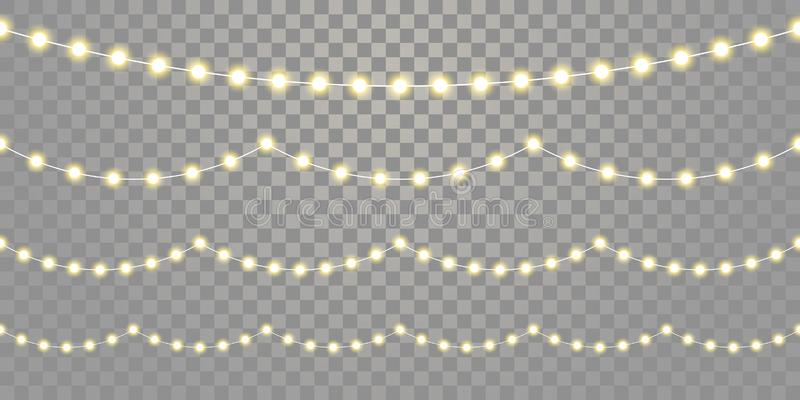 Christmas lights seamless vector isolated transparent background. Vector Xmas, birthday holiday festival celebration lamp royalty free illustration