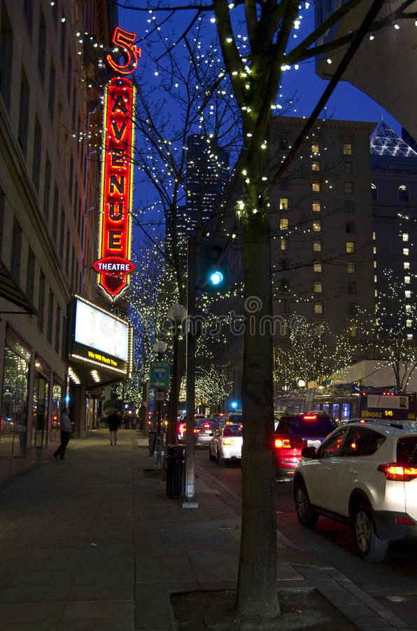 Download Christmas Lights Seattle Downtown Night Editorial Stock Image - Image: 35912489
