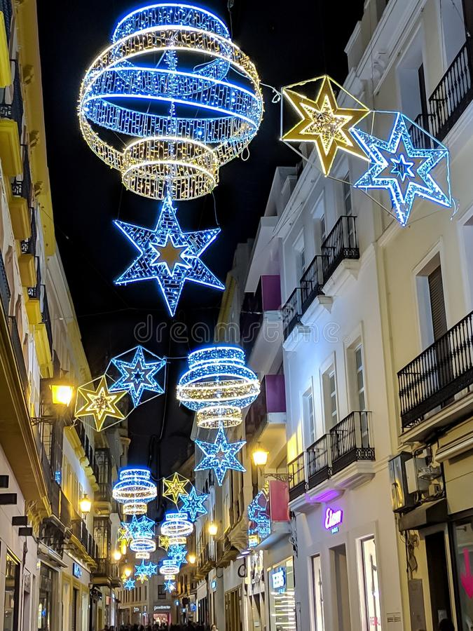 Christmas lights at Sevilla. Christmas lights at the center of sevilla royalty free stock photography