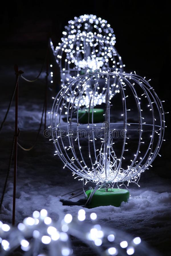 Christmas Lights. In the snow royalty free stock images