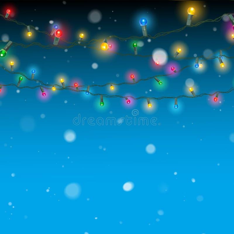 Christmas lights and snow decoration. Falling snowflakes and christmas lights decoration vector illustration stock illustration