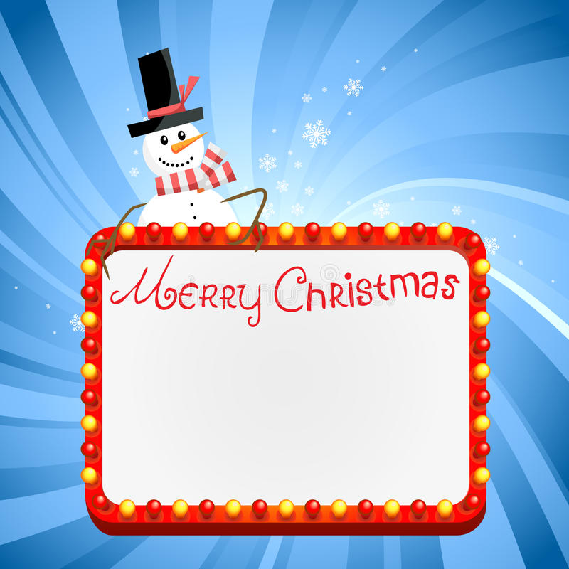 Download Christmas Lights With Snowman Stock Vector - Image: 21934514