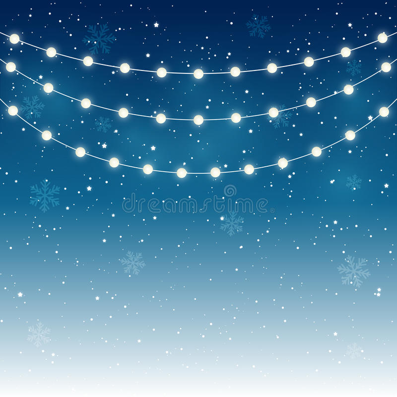 Christmas lights. On starry background royalty free illustration