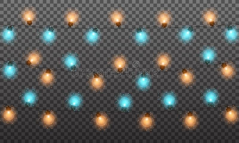 Christmas lights. String lights garland for New Year and Xmas season. Set of glowing isolated lights with shiny particles.  vector illustration