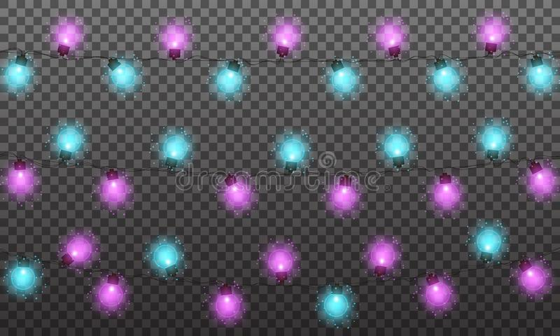 Christmas lights. String lights garland for New Year and Xmas season. Set of glowing isolated lights with shiny particles.  royalty free illustration