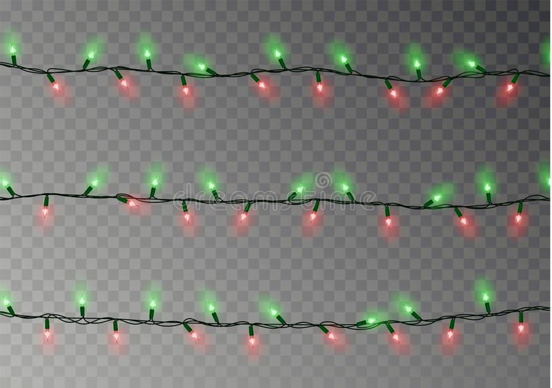 Christmas lights string isolated. Realistic garland decoration. Festive design elements. Glowing lig vector illustration