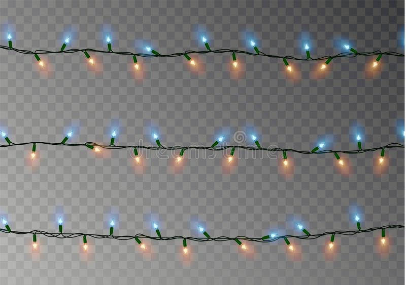 Christmas lights string isolated. Realistic garland decoration. Festive design elements. Glowing lig. Hts string for Xmas Holiday greeting card. Christmas stock illustration