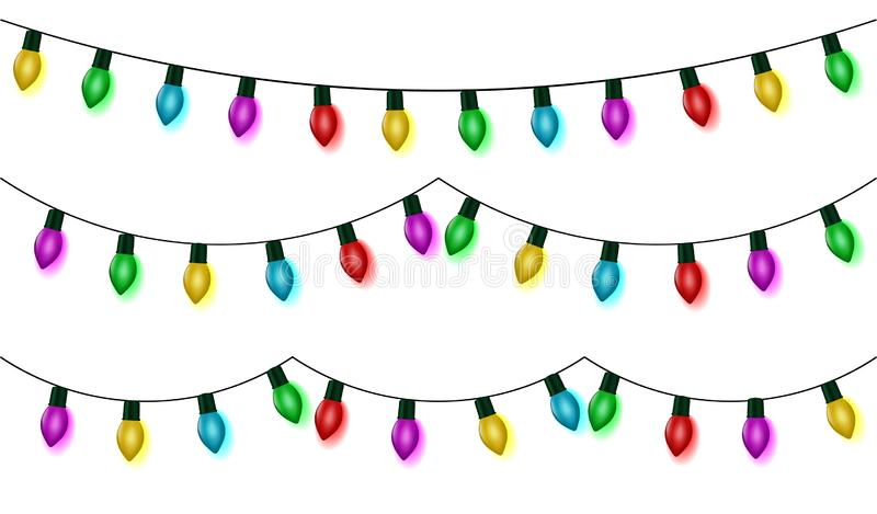 Christmas lights string set vector, color garland collection, isolated on white. Garland hanging, ol. D fashion light string. Vector illustration stock illustration