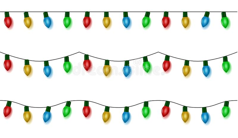 Christmas lights string vector, color garland set isolated on white. Garland balls seamless. Hanging. Old fashion light string. Vector illustration vector illustration