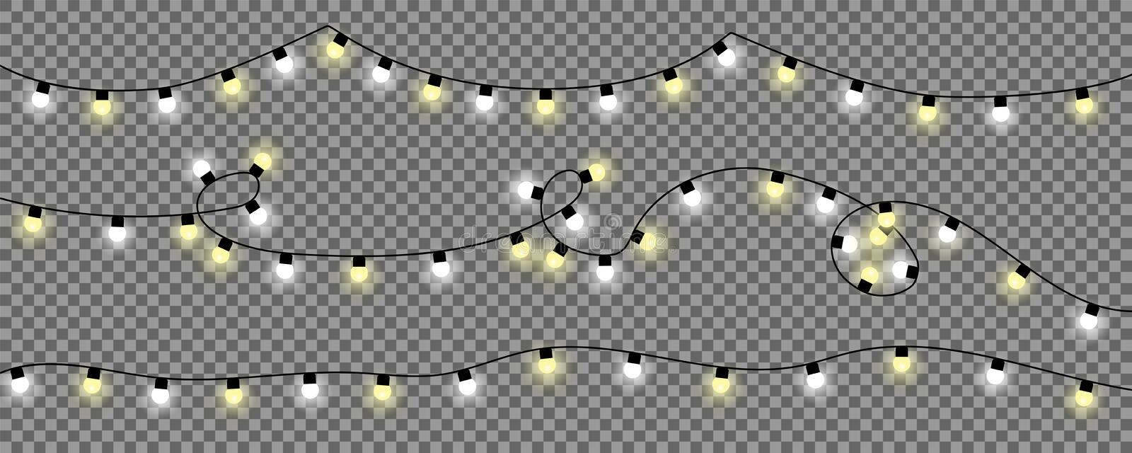Christmas Lights on transparent background. Christmas light in white and yellow color vector illustration