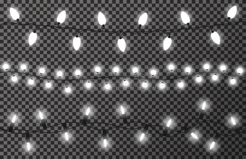 Christmas lights on transparent background. White, bright and glowing Christmas garland. New Year decoration royalty free illustration