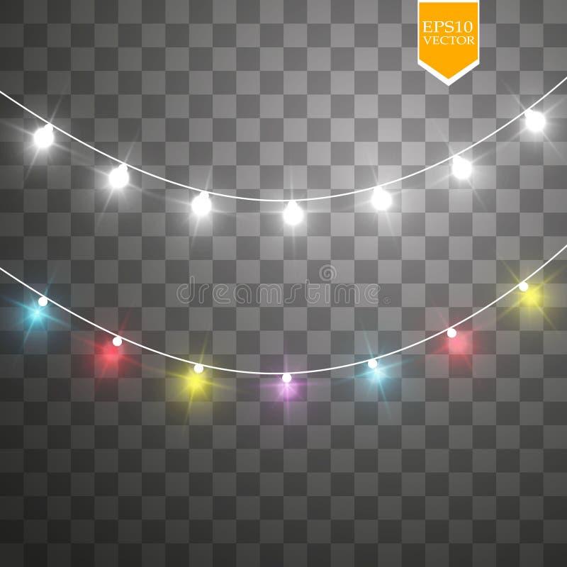 Christmas lights on transparent background. Xmas glowing garland. Vector illustration vector illustration