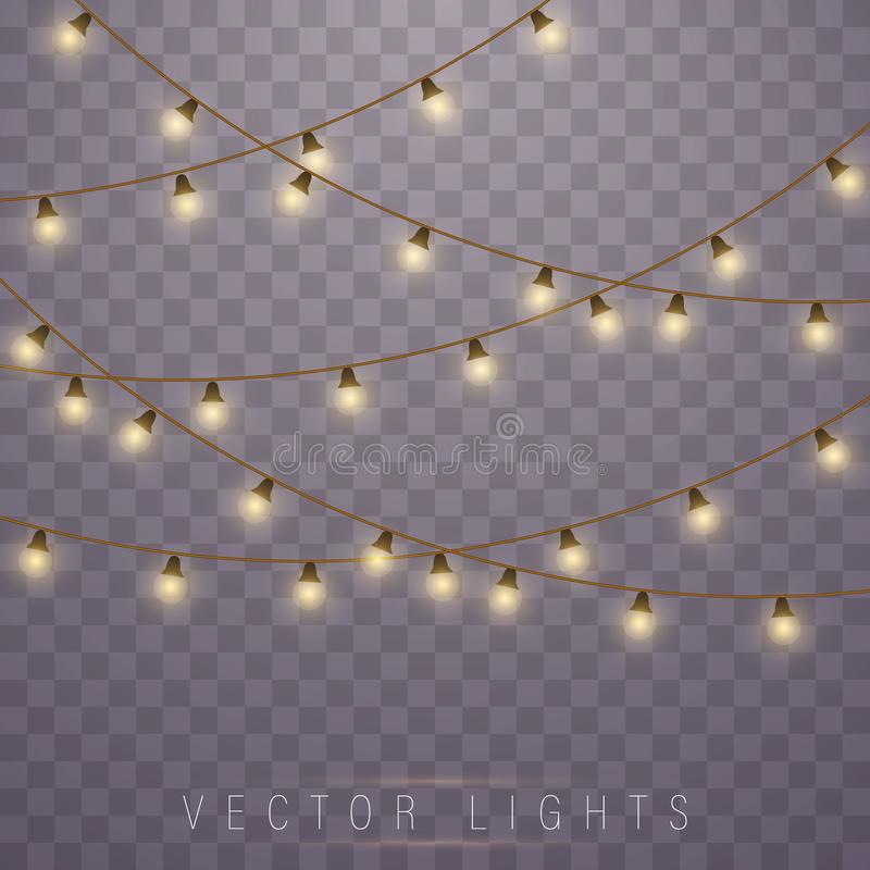 Christmas lights. Vector. Christmas lights isolated on transparent background. Led neon lamp. Glowing lights for Xmas Holiday cards, banners, posters, web vector illustration