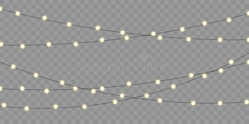 Christmas lights vector isolated element, holiday celebration greeting card. Xmas, birthday or festival celebration lamp lights stock illustration