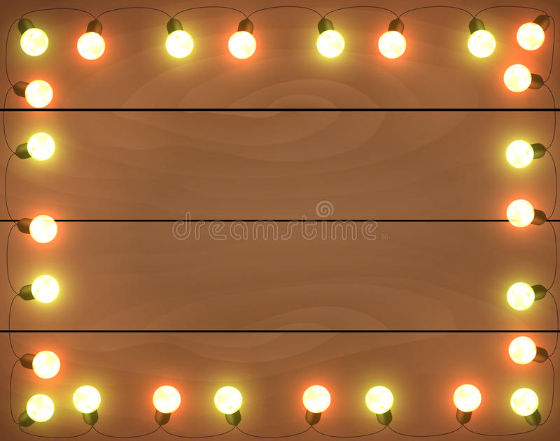 Christmas lights on wooden background, frame with. Garlands, horizontal wallpaper royalty free illustration