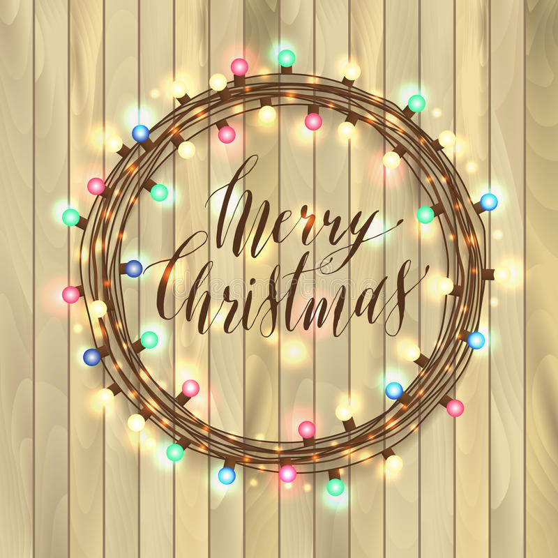 Christmas lights on wooden background. New year garland stock illustration