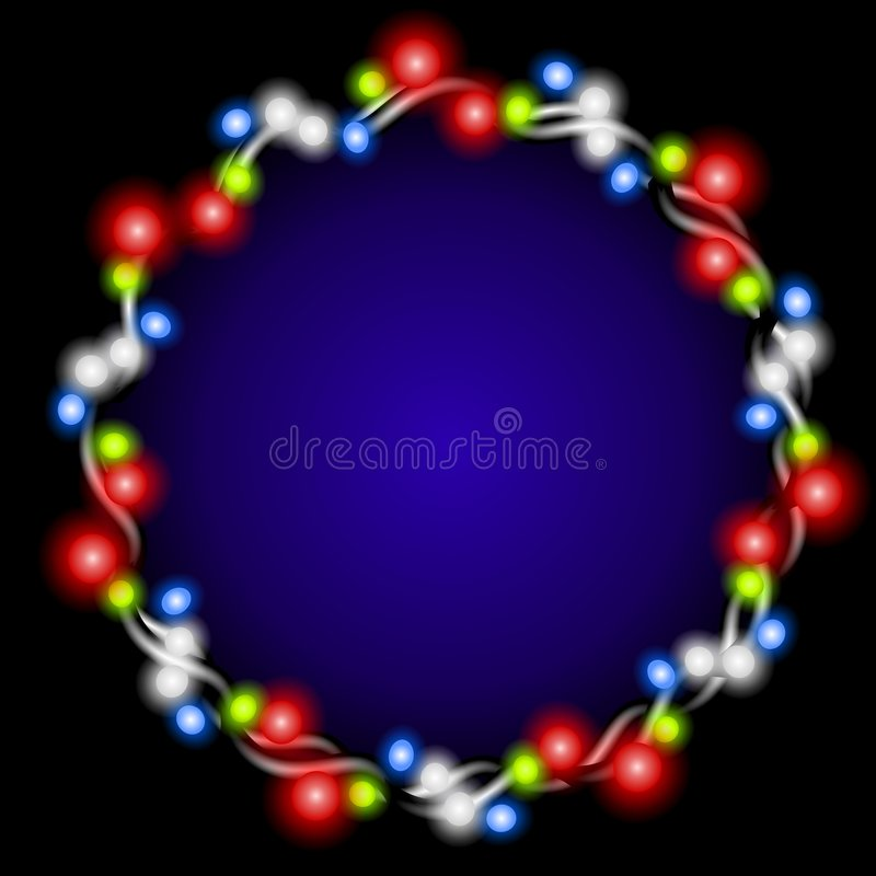 Christmas Lights Wreath Glow. An illustration featuring a wreath of glowing Christmas lights set against dark background royalty free illustration