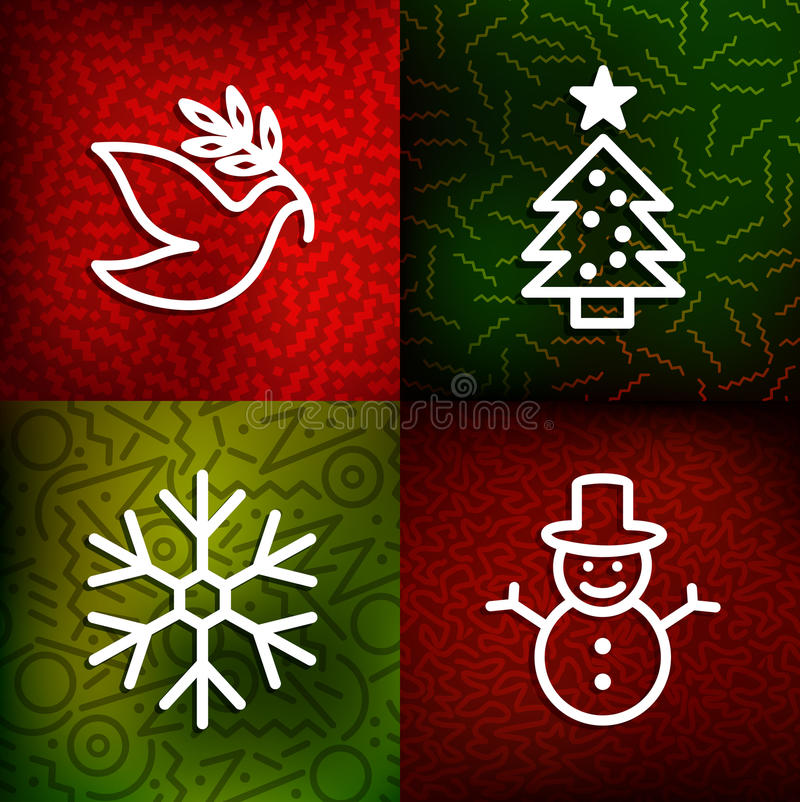 Christmas line art icons over vintage 80s background. Set: xmas tree, snowflake, snowman and peace dove outline symbols. EPS10 vector file stock illustration