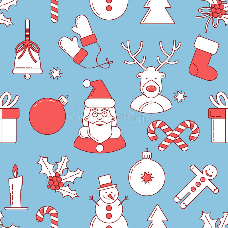 Christmas line design seamless pattern vector illustration
