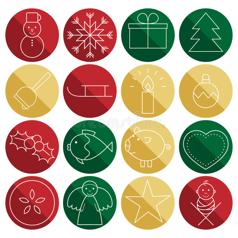 Christmas line icons in circles. Set of 16 Christmas line icons on red, green and gold circles vector illustration