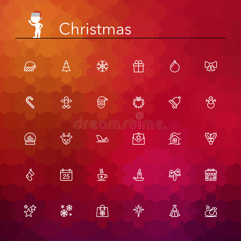 Christmas Line Icons stock illustration