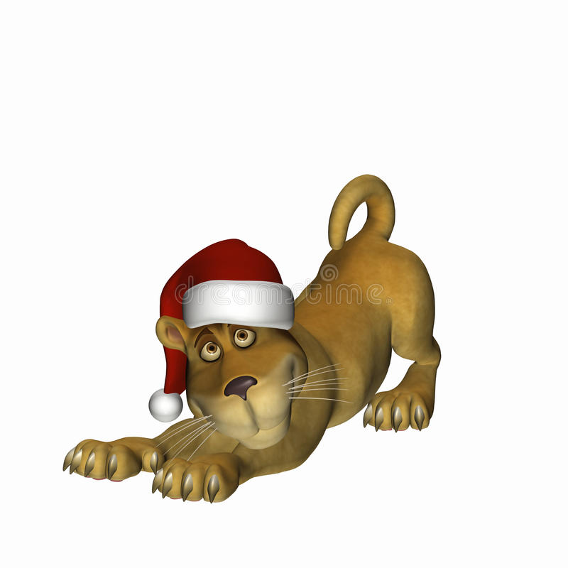 Free Christmas Lion Cub 2 Royalty Free Stock Photography - 11772387