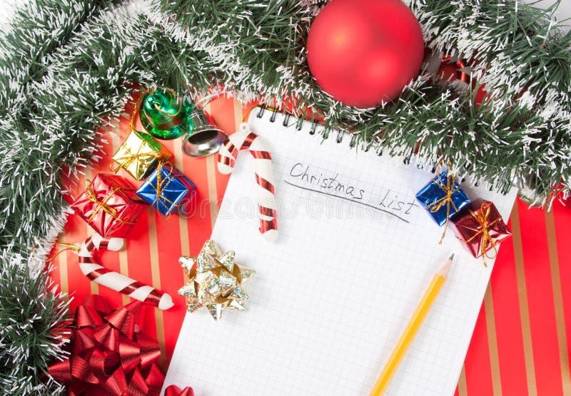 Christmas list stock photos