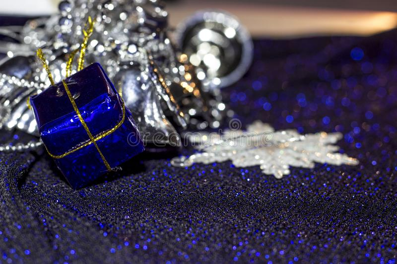 Great background. Christmas blue and silver decorations for tree. stock photo