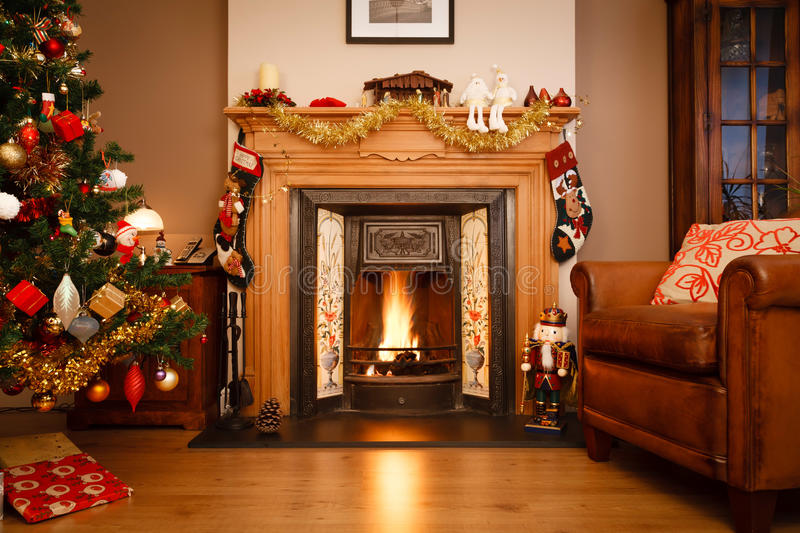 Download Christmas living room stock image. Image of antique, flames - 26828491