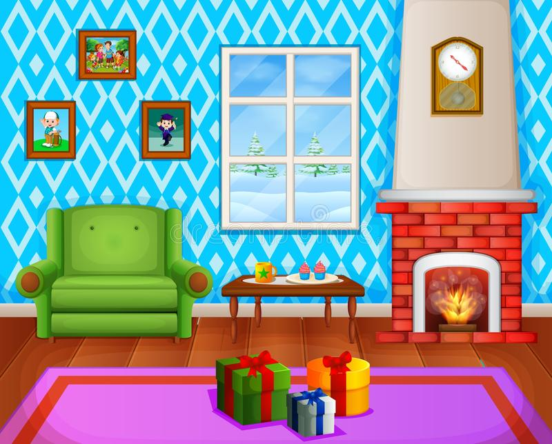 Christmas living room with a tree and fireplace royalty free illustration