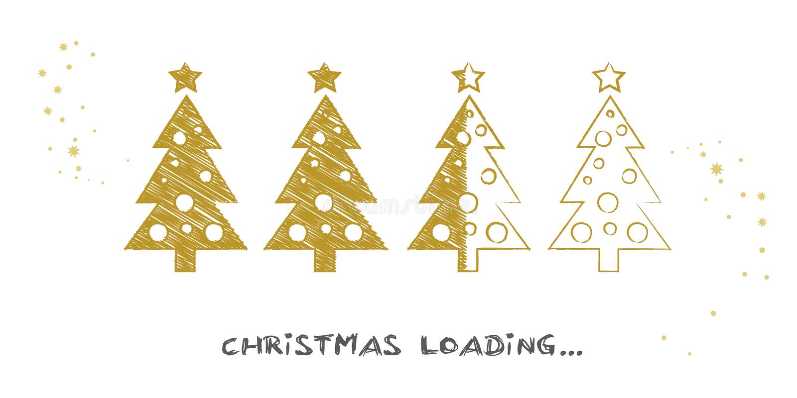 Christmas is loading background with christmas tree. Progress bar with Christmas tree showing loading of christmas illustration royalty free illustration