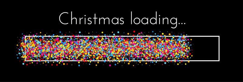 Christmas loading banner with colorful progress indicator. Black Christmas loading creative banner with colorful progress indicator. Vector background.r royalty free illustration