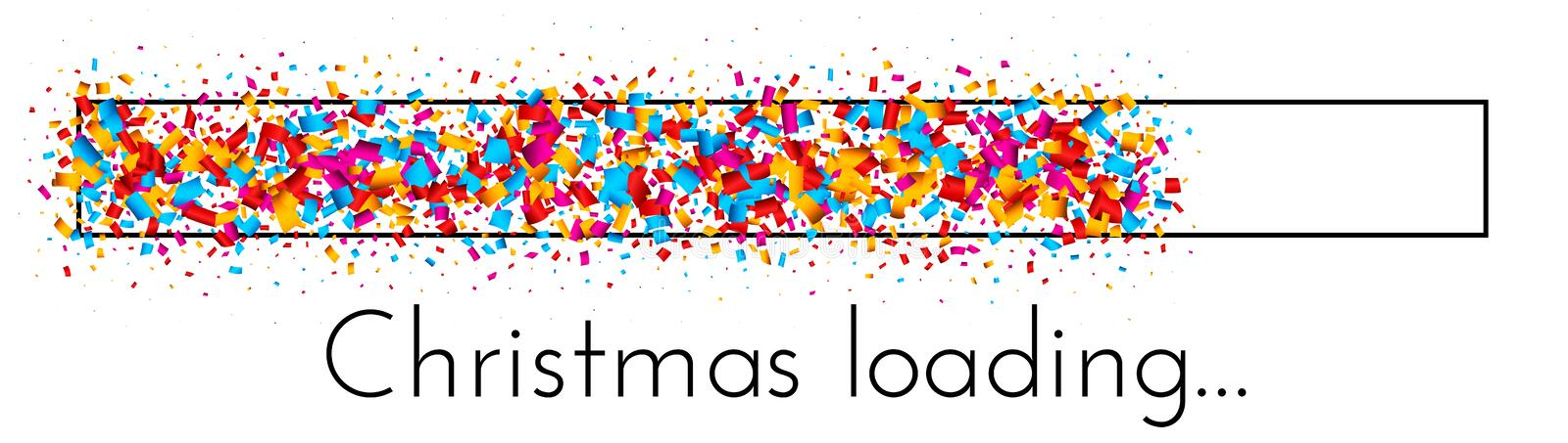 Christmas loading banner with colorful progress indicator. Christmas loading creative banner with progress indicator made of bright confetti. Vector background royalty free illustration