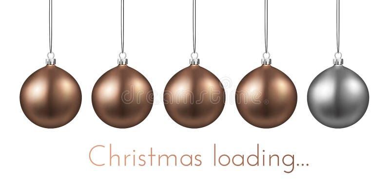 Christmas loading poster with progress bar made of Christmas bal. Christmas loading creative poster with progress bar made of Christmas balls. Vector background stock illustration