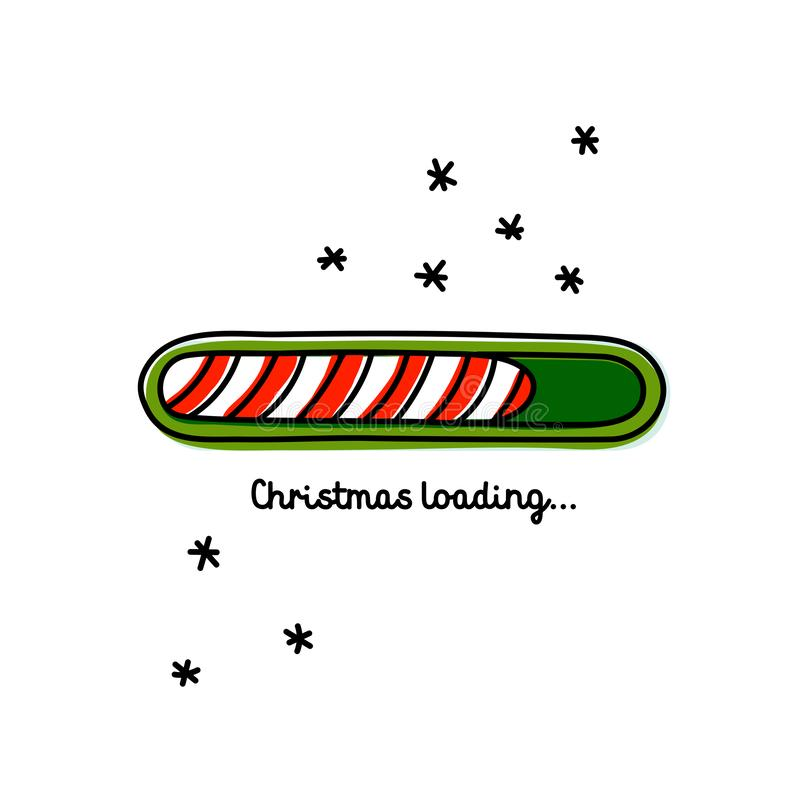 Christmas Loading. Red and green web progress bar on dark red background with snowflakes. Greeting card, web banner. Landing page, brochure or poster template vector illustration