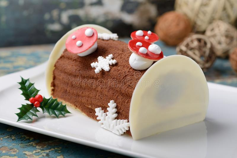 Christmas log chocolate cake (Lime mix berry) royalty free stock image