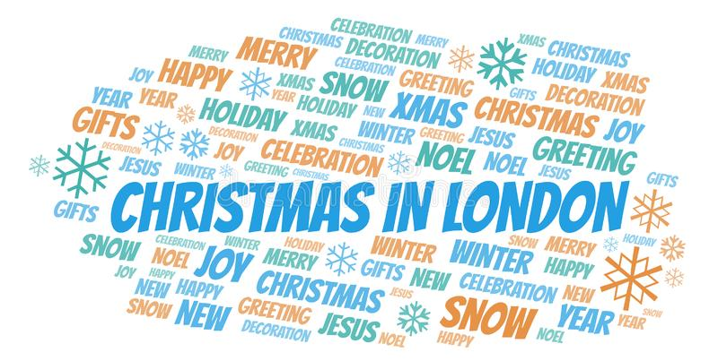 Christmas In London word cloud royalty free illustration
