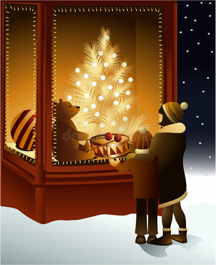 Christmas magic shop window vector illustration
