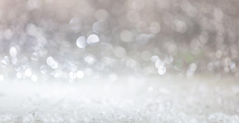 Christmas magic snow, abstract bokeh lights. Background royalty free stock photos