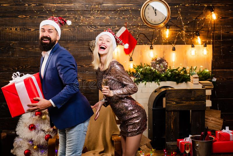 Christmas man suit fashion. Couple in love. Drunk Girls celebrate New Year. Christmas home interior. Cute young woman. Christmas men suit fashion. Couple in love royalty free stock photo
